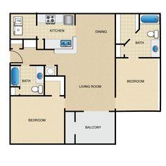 Sumac plus solarium - 2 Bedroom 2 Bathroom 1,130 SQFT Floor Plan