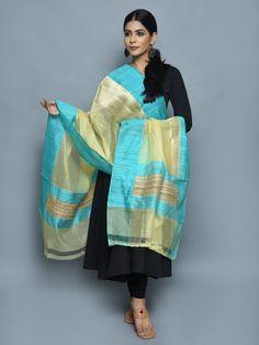 Turquoise Beige Kora Cotton Handwoven Banarasi Dupatta
