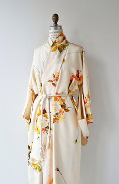Natsu silk kimono vintage 1950s silk kimono antique floral