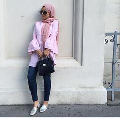 ruffle pink blouse hijab spring fashion 2017
