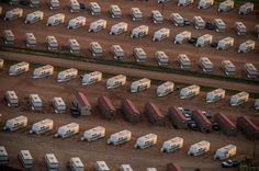 A trailer park occupied mostly by oil workers is seen in an aerial view in the early morning hours near Watford City, North Dakota. North Dakota has seen a boom in oil production thanks to new drilling techniques including horizontal drilling and hydraulic fracturing.