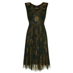 Kristen Dress In Green And Gold Lace