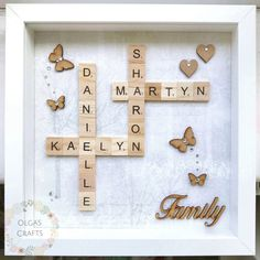 Diy christmas gifts ideas for family unique 19 ideas Scrabble Letter Crafts, Scrabble Art, Scrabble Letters, Scrabble Tiles, Memories Box, Scrabble Kunst, Memory Box Frame, Diy Quilting Frame, Mothers Day Gifts Uk