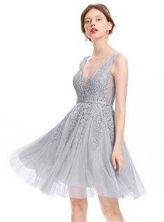 bcc5e6f93351 [ A-Line/Princess V-neck Knee-Length Tulle Homecoming Dress With Beading  Sequins