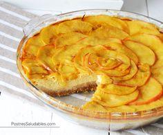 Postres Saludables   Cheesecake de Manzana y Caramelo SALUDABLE   http://www.postressaludables.com