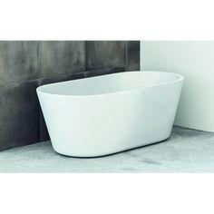 Badekar UME Den ovale formgivningen skaper et mykt og moderne inntrykk. At det er frittstående, er ikke bare pent, det gjør dessuten badekaret lettplassert i de fleste baderom. Sjenerøs badedybde med rikelig plass. Velg til blandebatteri for veggmontering.