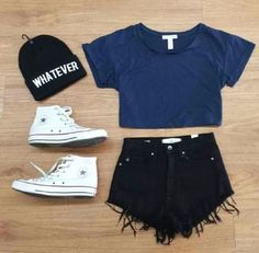 Beanie, crop top, high waisted shorts, converse.