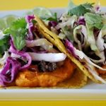 Sweet Potato and Black Bean Tacos with Cilantro Cabbage Slaw