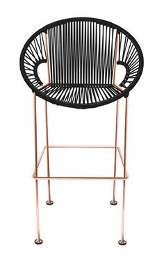 woven black stool copper legs