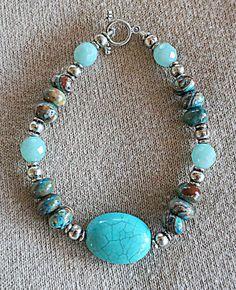 Genuine Turquoise, Amazonite & Calsilica Gemstone Bracelet in silver, Single or Stackable Bracelet