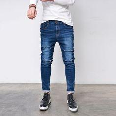 Mens Destroy Knife Cut Slim Baggy-Jeans 281 by Guylook.com