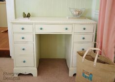 Antique White Painted Desk with Rope Molding Details and Turquoise knobs