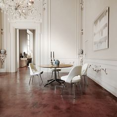 Saarinen Executive Armless Chair EERO SAARINEN 1950 Featured in nearly all Florence Knoll-designed interiors, the Saarinen Executive Chair delivers mid-century sophistication to the dining room and office alike.