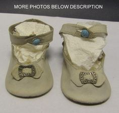antique ankle button oil cloth baby doll shoes