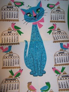vintage felt 1969 calendar - the year my older son was born [He and his wife now live in a house with 5 cats & a dog!]