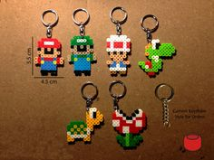Mario Keychains Magnets and Pins made from Perler Beads by DJbits