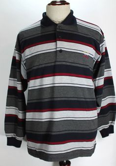Paul & Shark Yachting Polo Shirt Striped size Large Long Sleeve Mens 100% Cotton #PaulShark #PoloRugby