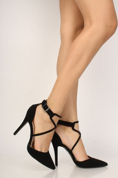 Sexy Black Strappy Pointy Toe Single Sole High Heels Nubuck Source by heels shoes Lace Up Heels, Pumps Heels, Stiletto Heels, High Heels Outfit, Black High Heels, Black Stilettos, Prom Heels, Studded Heels, Platform High Heels