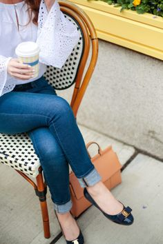 Banana Republic Easy Care Eyelet Flare-Sleeve Shirt and Salvatore Ferragamo Varina Flats in Oxford Blue