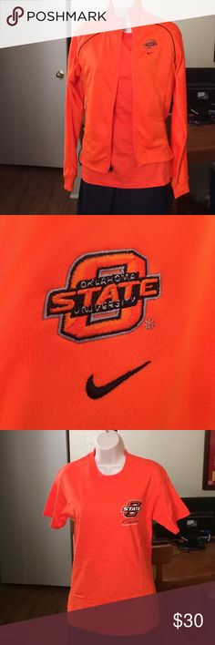 """OSU Cowboys Nike  Team Jacket EUC Nike Dri-Fit front zip long sleeve jacket. 100% polyester. 21.5"""" long, 23"""" sleeve, and 21"""" pit to pit. Come with free new t-shirt. Nike Jackets & Coats"""