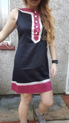 DRESS Sleeveless Spring Summer black pink Atmosphere casual women 70s style 12UK #Atmosphere #TeaDress #Casual