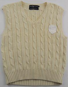 Ralph Lauren Cable Knit Sweater Vest Boys Size Medium M Polo Crest Patch Cream #RalphLauren