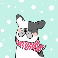Draw french bulldog in snow for winter season Premium Vector Christmas Doodles, Christmas Drawing, Christmas Art, Winter Christmas, Vector Christmas, Winter Illustration, Christmas Illustration, Cute Illustration, Animal Drawings