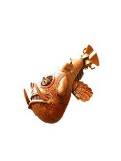 Steampunk fish sculpture by Michihiro Matsuoka