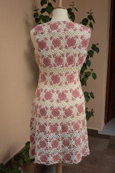 Knit dress Crochet Short Vintage 1970's Mini by BelladonaVintage