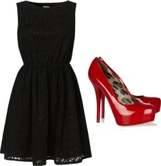 Black dress with red heels