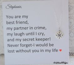Best Friend partner in crime necklace, Compass necklace, BFF necklace, Friendship Jewelry, Graduatio