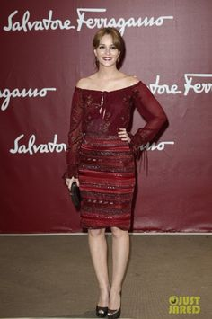 Leighton Meester wearing Giuseppe Zanotti Metallic Peep-Toe Platform Pump and Salvatore Ferragamo 2012 Fall Dress.