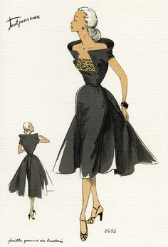 1950's Fashion Illustrations (Visual Communication) -Attitüde, Haltung, Generation Silver
