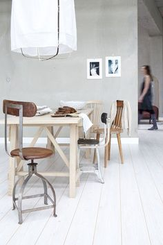 mixed dining chairs and mixed wood