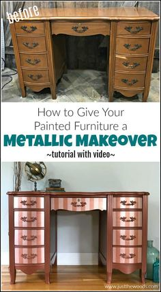 How to Paint Furniture with Modern Masters Metallic Paint Modern Masters metallic paint adds a gorgeous shimmer to your painted furniture. See how to paint with metallic copper paint and rose gold metallic paint stripes. Painted Furniture For Sale, Metallic Painted Furniture, Paint Furniture, Furniture Makeover, Cool Furniture, Refinished Furniture, Rose Gold Metallic Paint, Garage Sale Finds, Diy Furniture Projects
