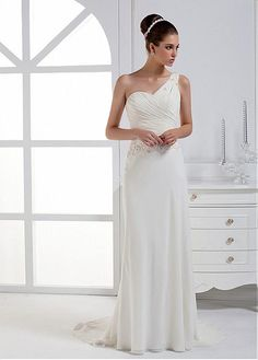 CHIC CHIFFON SATIN SHEATH ONE SHOULDER NECKLINE NATURAL WAIST BRIDAL GOWN WITH BEADINGS LACE BRIDESMAID PARTY