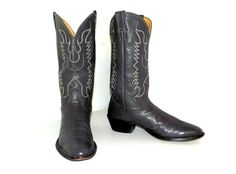 Grey Leather Nocona Cowboy boots size 8.5 D by honeyblossomstudio, $55.99