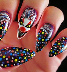 Scary clown nails--perfect for Halloween!