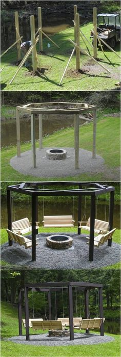 DIY Backyard Fire Pit with Swing Seats # Backyard . DIY Hinterhof Feuerstelle mit Schaukel Sitze # Hinterhof DIY backyard fire pit with swing seats # backyard Backyard Projects, Outdoor Projects, Diy Projects, Project Ideas, Diy Backyard Improvements, Farm Projects, Swing Seat, Swing Chairs, Bench Swing
