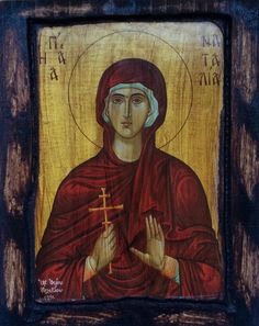 "* SAINT NATALIA *  Orthodox Byzantine icon on wood handmade.  Size.: 8.8"" inches x 6.6"" inches or (22.5 cm x 17 cm)"