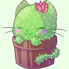 'Cat cactus' by Red Socks Kitty cat cactus redbubble Cactus Doodle, Cactus Cat, Cactus Socks, Cactus Plants, Kawaii Drawings, Cute Drawings, Animal Drawings, Manga Kawaii, Kawaii Art