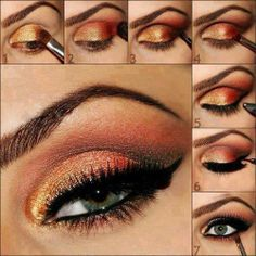 #Gold glamour make-up step by step