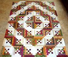 интересная идея лоскутное одеяло / 9 patch as center of log cabin | visit etsy com