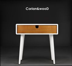 Mid-Century Scandinavian Side Table / Nightstand - One drawer and retro legs made of solid oak