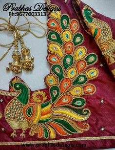 Mothi works's media statistics and analytics Peacock Blouse Designs, Peacock Embroidery Designs, Kids Blouse Designs, Wedding Saree Blouse Designs, Pattu Saree Blouse Designs, Simple Blouse Designs, Peacock Design, Machine Embroidery Designs, Hand Designs