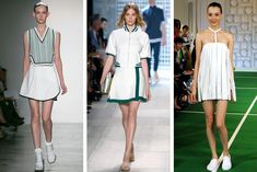 Three's a Trend | Tennis-inspired looks at (from left) Lisa Perry, Lacoste and Louise Goldin.