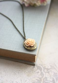 Peach Rose Flower Locket Necklace. Bridesmaids Gifts. by Marolsha