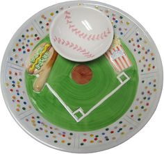 Now here's a cute idea for the baseball fan a decorative chip and dip serving set Chip And Dip Sets, Serving Platters, Decorative Bowls, Salsa, Dips, Entertaining, Ceramics, Baseball, Auction Ideas