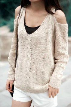 Bare Shoulder Loose Sweater