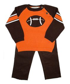 Take a look at this Orange & Brown Football Sweater & Pants - Infant, Toddler & Boys on zulily today!